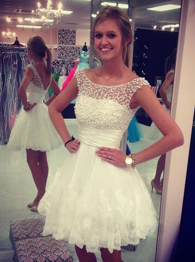 White A-line Graduation Dresses,Short Homecoming Dresses,11527