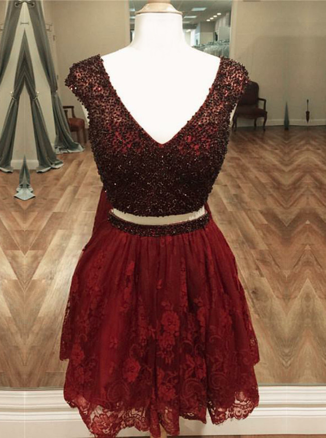 Burgundy Two Piece Homecoming Dresses,Lace Short Prom Dress,11528