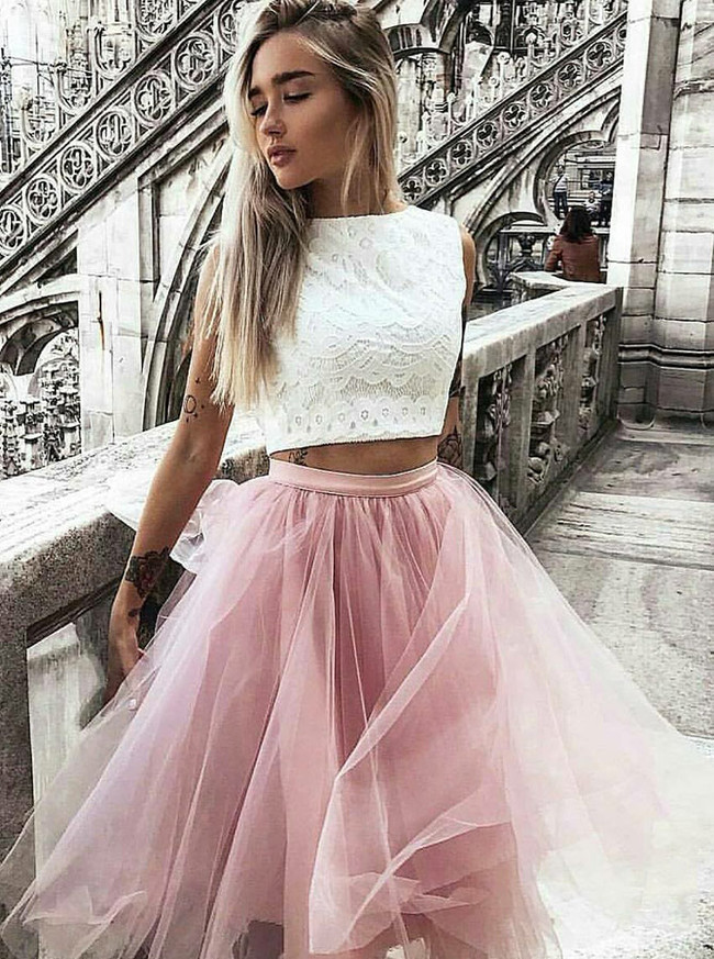 Two Piece Knee Length Homecoming Dresses with Lace Top,Short Tulle Prom Dress,11529