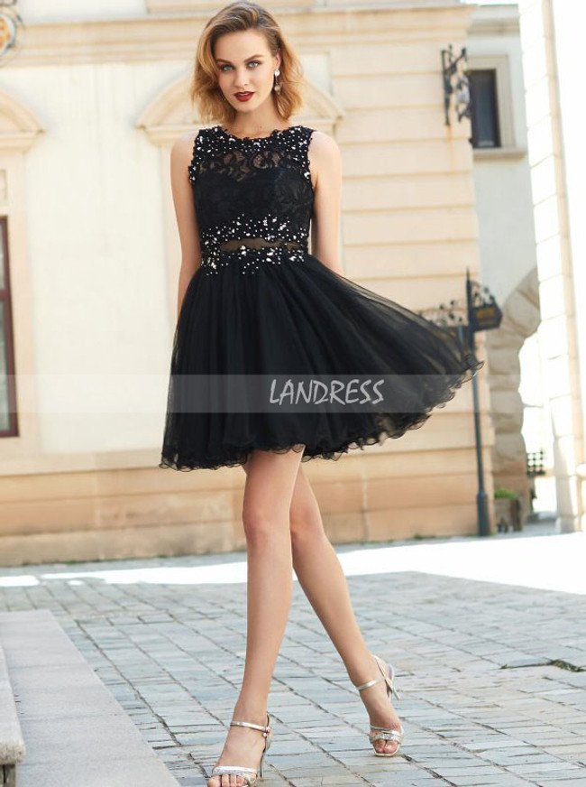 Black Tulle Homecoming Dresses,Illusion Cocktail Dress,11531