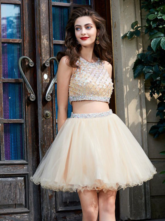 Champagne Two Piece Homecoming Dresses,Sparkly Cocktail Dress,11532