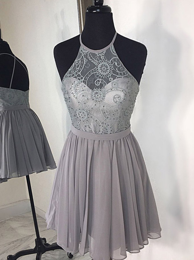 Silver Halter Homecoming Dresses,Short Chiffon Cocktail Dress,11535