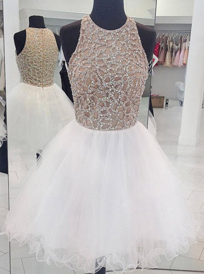 White Full Beaded Bodice Sweet 16 Dresses,Tulle Short Homecoming Dress,11536