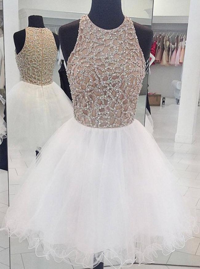 White Full Beaded Bodice Sweet 16 Dresses,Tulle Short Homecoming Dress,11536