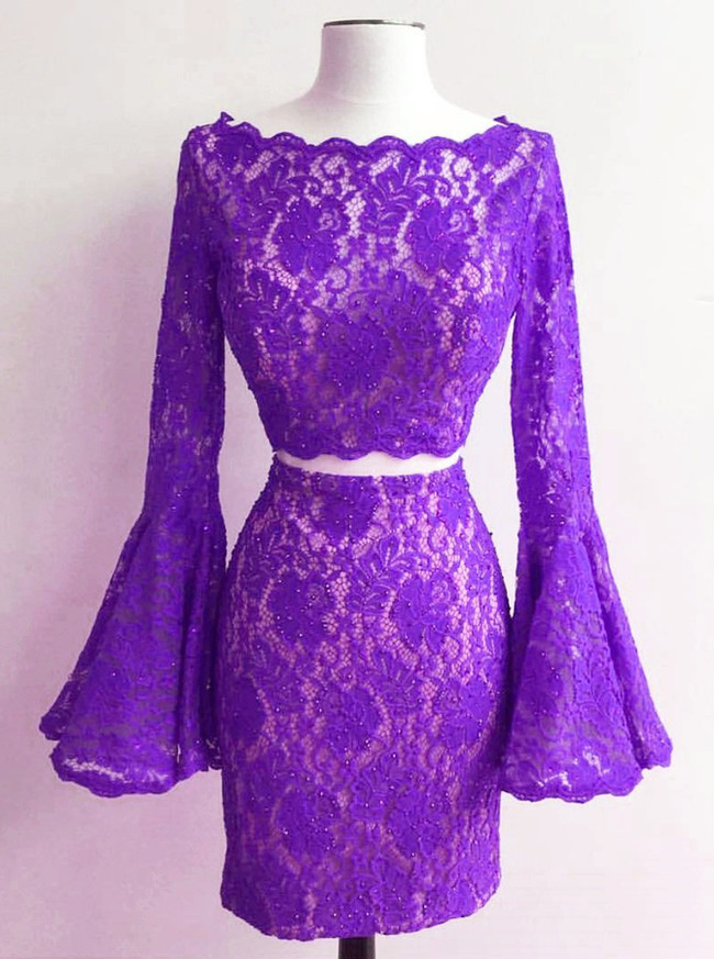 Lace Cocktail Dresses,Two Piece Homecoming Dress with Sleeves,11537