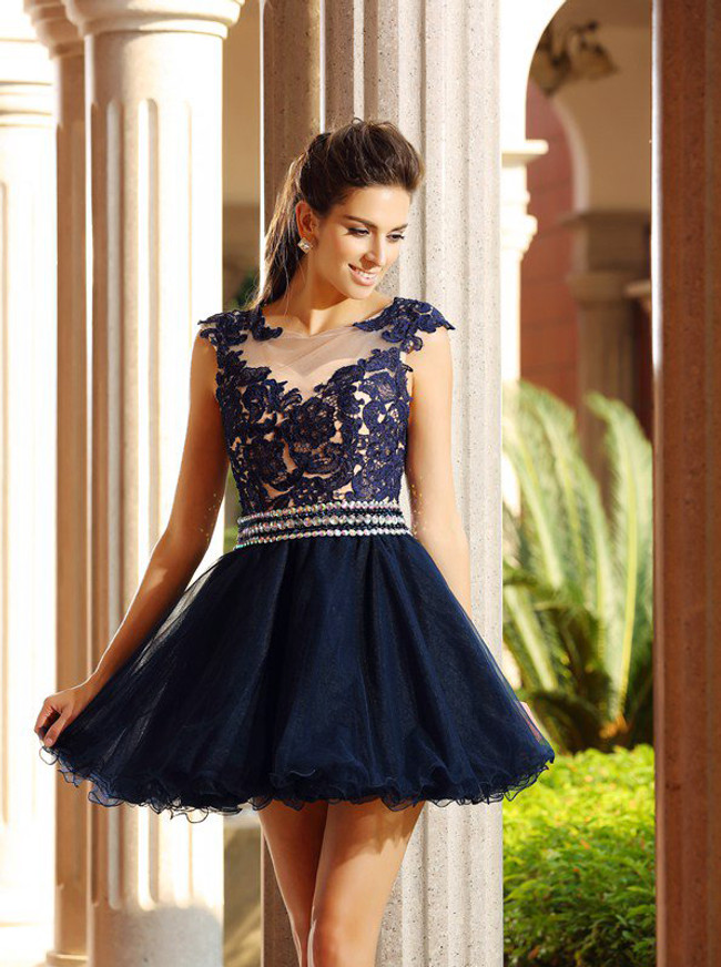 Dark Navy Homecoming Dresses,Tulle Short Cocktail Dress,11538