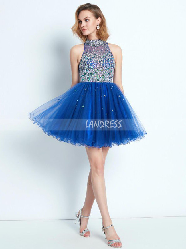 Royal Blue High Neck Sweet 16 Dresses,Beaded Short Homecoming Dress,11540