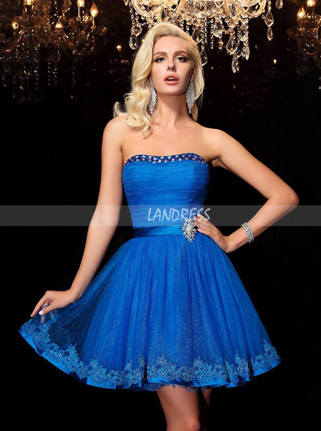 Royal Blue Strapless Sweet 16 Dress,Ruched Short Cocktail Dress,11541