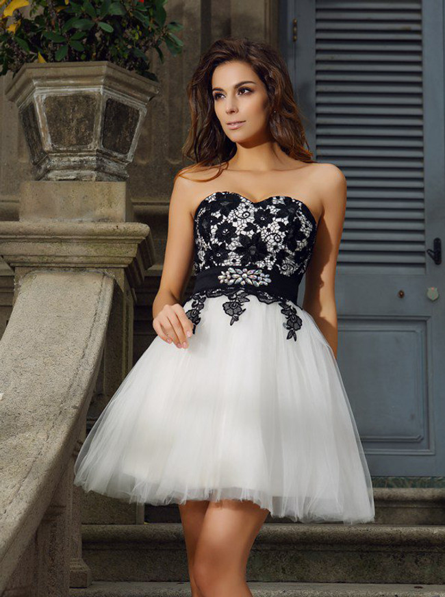 Tulle Homecoming Dresses,Sweetheart Sweet 16 Dress with Lace Bodice,11542