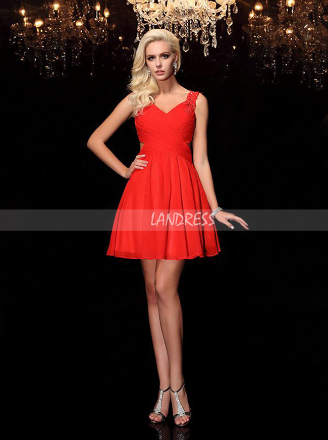 Red Homecoming Dress with Cutout Back,Chiffon Short Cocktail Dress,11543