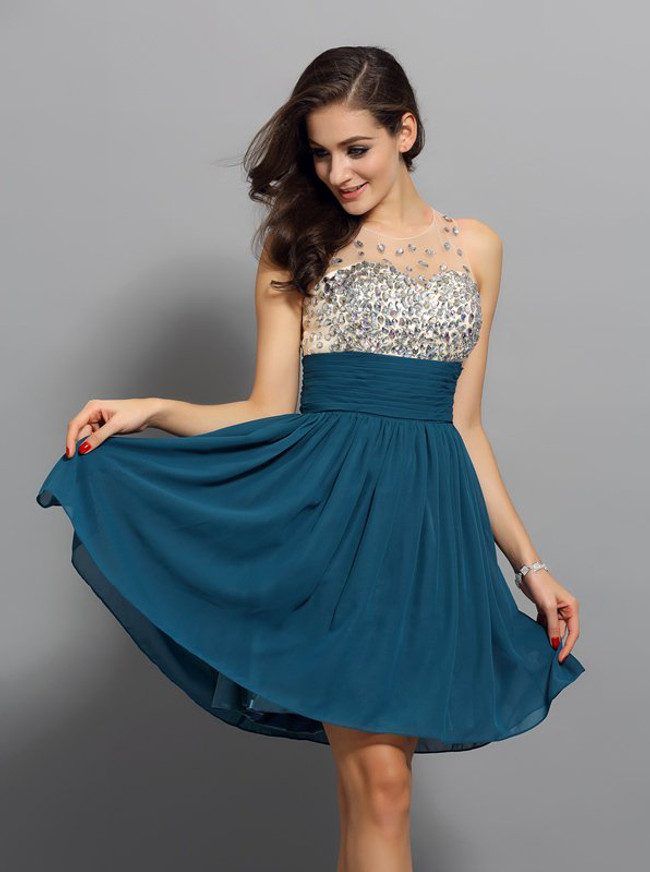 Ink Blue Short Chiffon Homecoming Dress,Illusion Cocktail Dress,11544