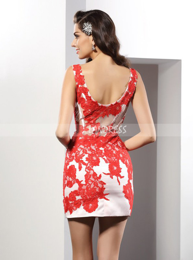 Red Sheath V-neck Homecoming Dress,Tight Cocktail Dress,11545