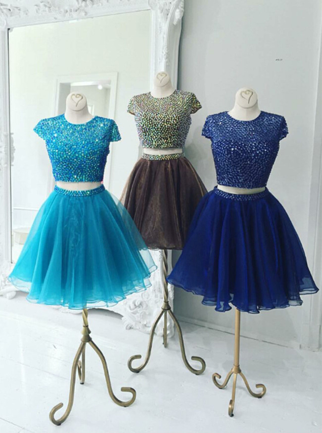 Brown Two Piece Homecoming Dresses,Cocktail Dress with Short Sleeves,11546