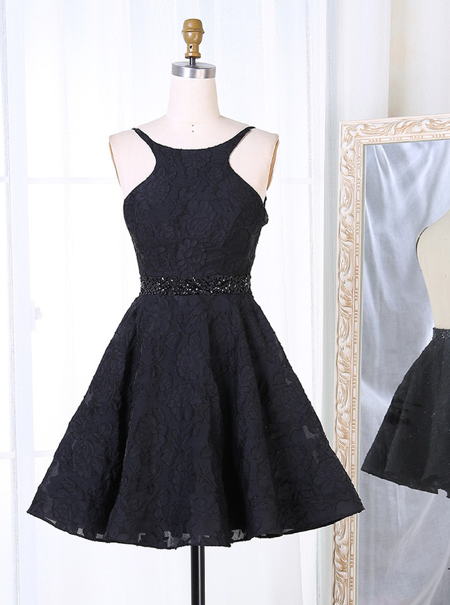 Black Open Back Cocktail Dresses,Sexy Homecoming Dress,11549