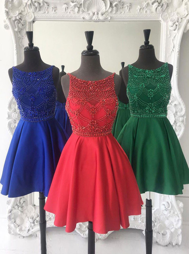 A-line Satin Homecoming Dresses,Beaded Cocktail Dress,11554