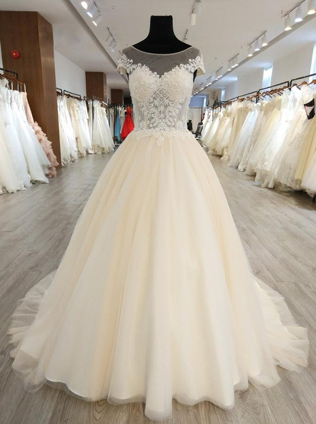 Light Champagne Wedding Dresses with Cap Sleeves,Illusion Bridal Dress,11555