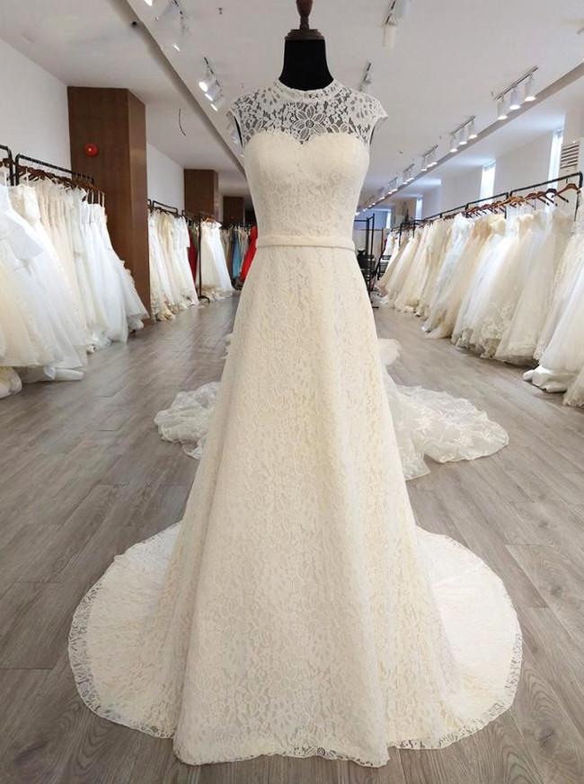 Ivory Lace Wedding Dresseshigh Neck Wedding Dress With Cutout Back11558