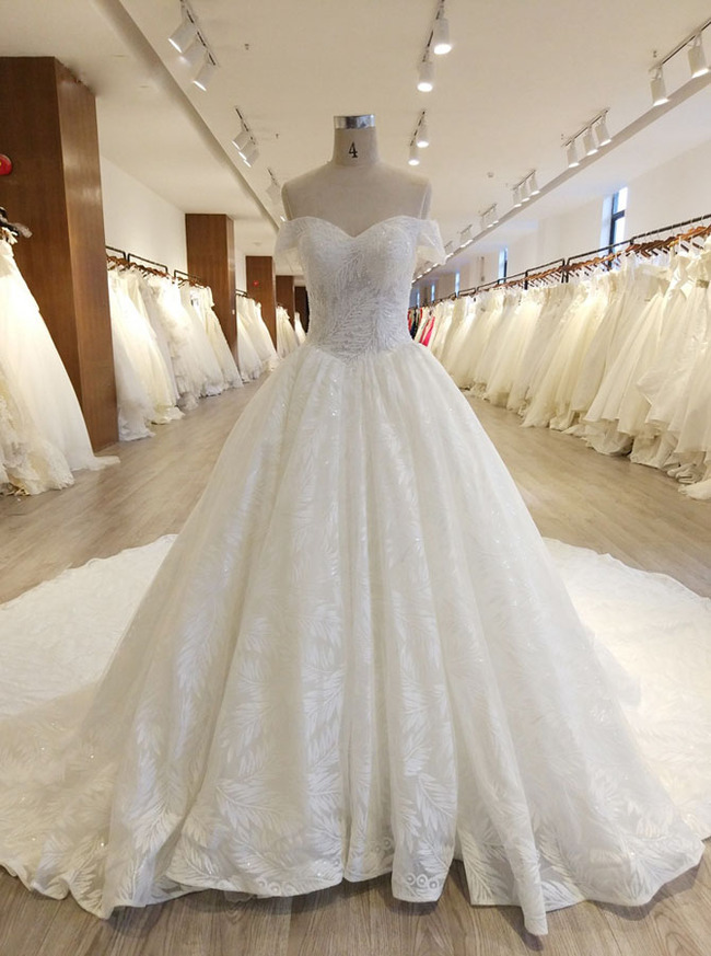 Off the Shoulder Bridal Gown,Princess Lace Wedding Gown,11559