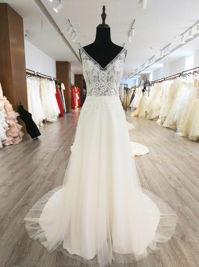 A-line V-neck Wedding Dresses,Elegant Bridal Dress,11562