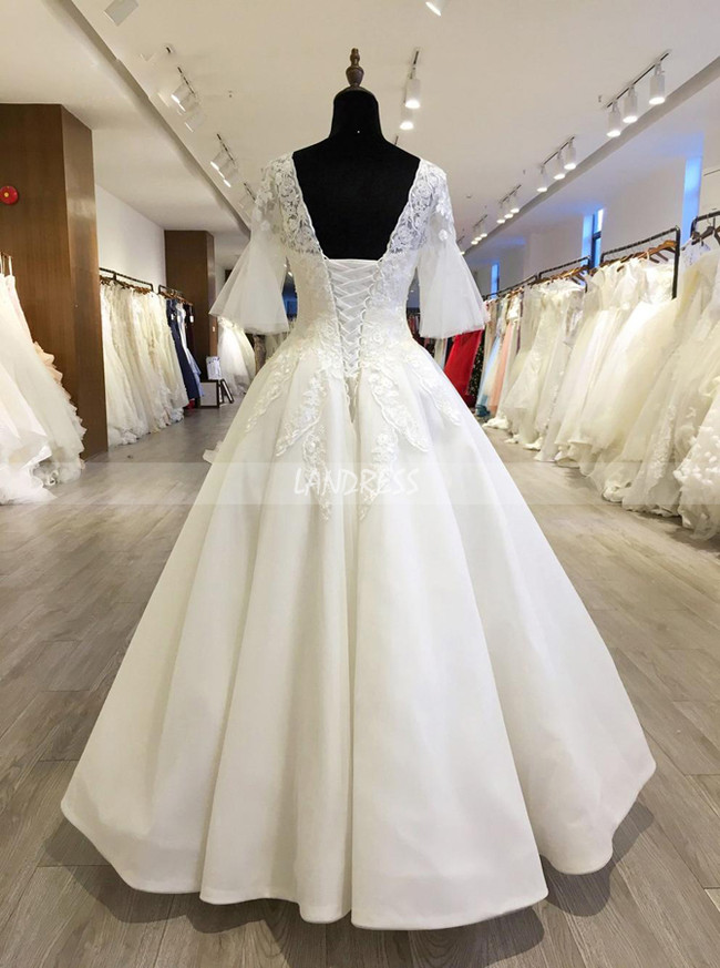 Princess Wedding Gown with Bell Sleeves,Floor Length Bridal Dress,11563