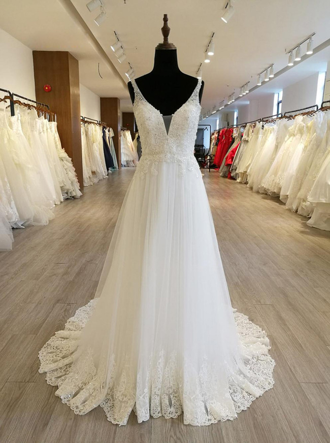 Casual Wedding Dresses With Straps Beaded Tulle Bridal Dress 11564