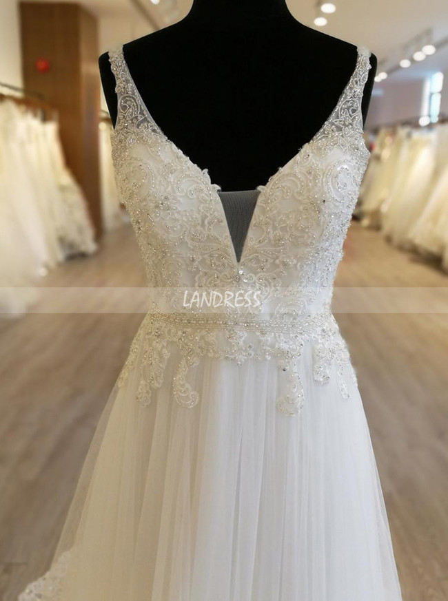 Casual Wedding Dresses with Straps,Beaded Tulle Bridal Dress,11564