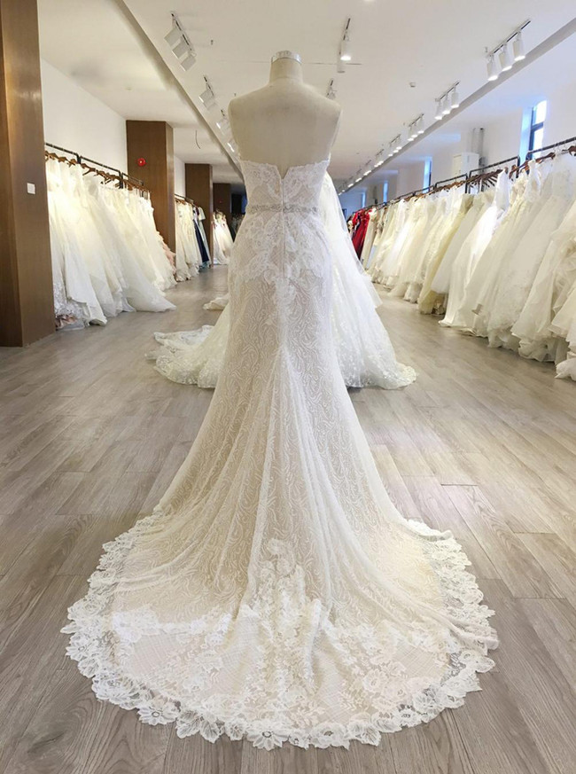 Sweetheart Wedding Dresses,Lace Mermaid Bridal Dress,11565