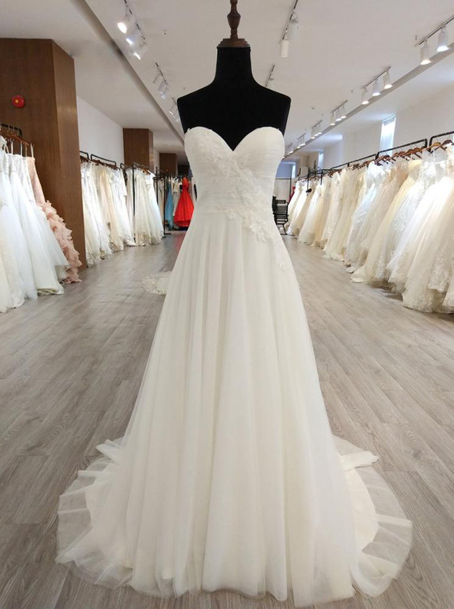 Simple Strapless Wedding Dresses,Ivory Wedding Dress,11566