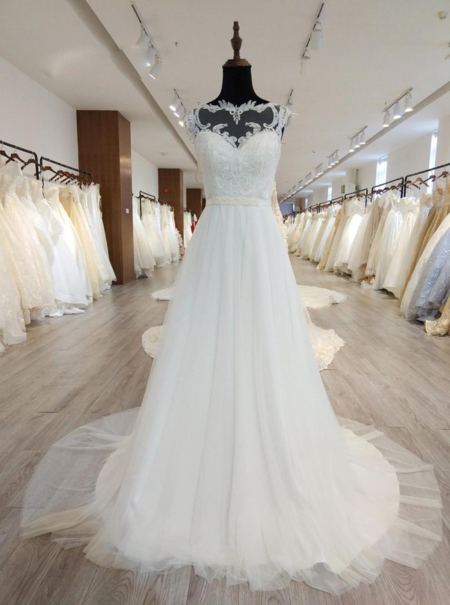 A-line Wedding Dresses with Illusion Back,Modest Bridal Dress,11567