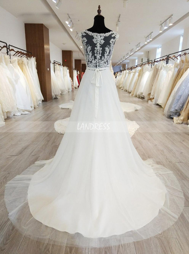 A Line Wedding Dresses With Illusion Back Modest Bridal Dress