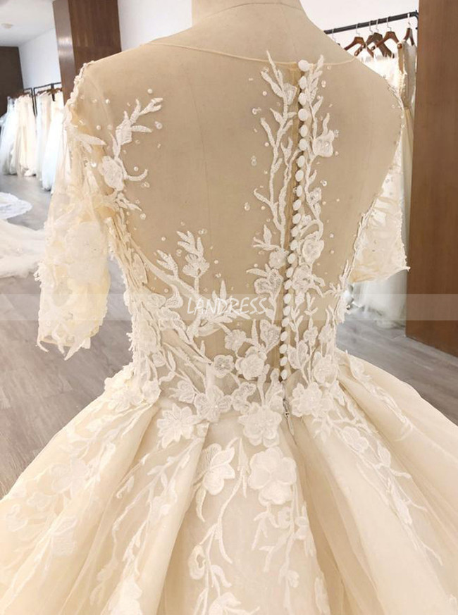 Champagne Ball Gown Dresses with Short Sleeves,Long Train Floral Wedding Gowns,11569