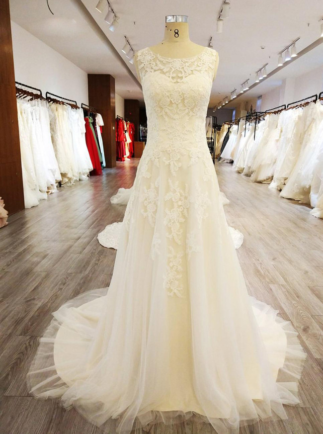Lace Wedding Dresses,Ivory Wedding Dress,11570