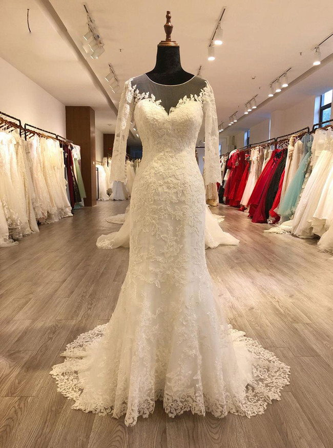 Fit And Flare Wedding Dresses With Sleeveslace Vintage Wedding