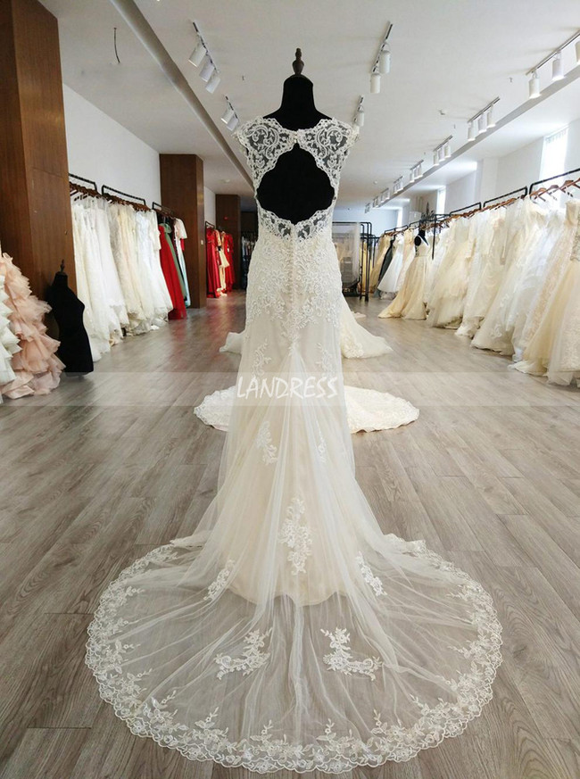 Lace Wedding Dresses with Cap Sleeves,Fit and Flare Wedding Dress,11573