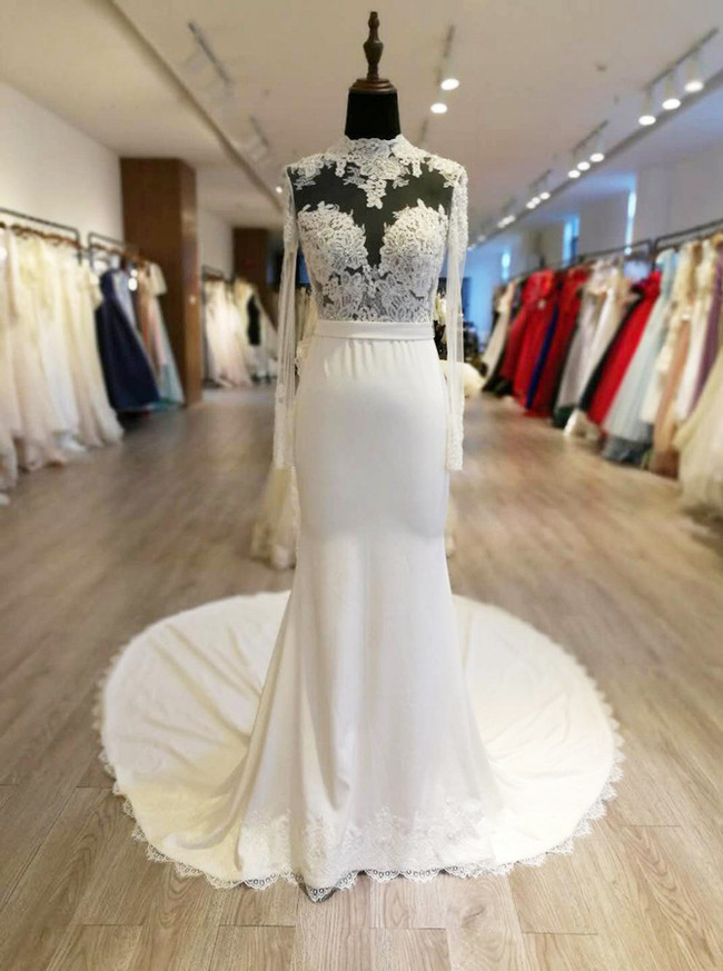Sheath Wedding Dresses with Long Sleeves,Illusion Wedding Dress,11574