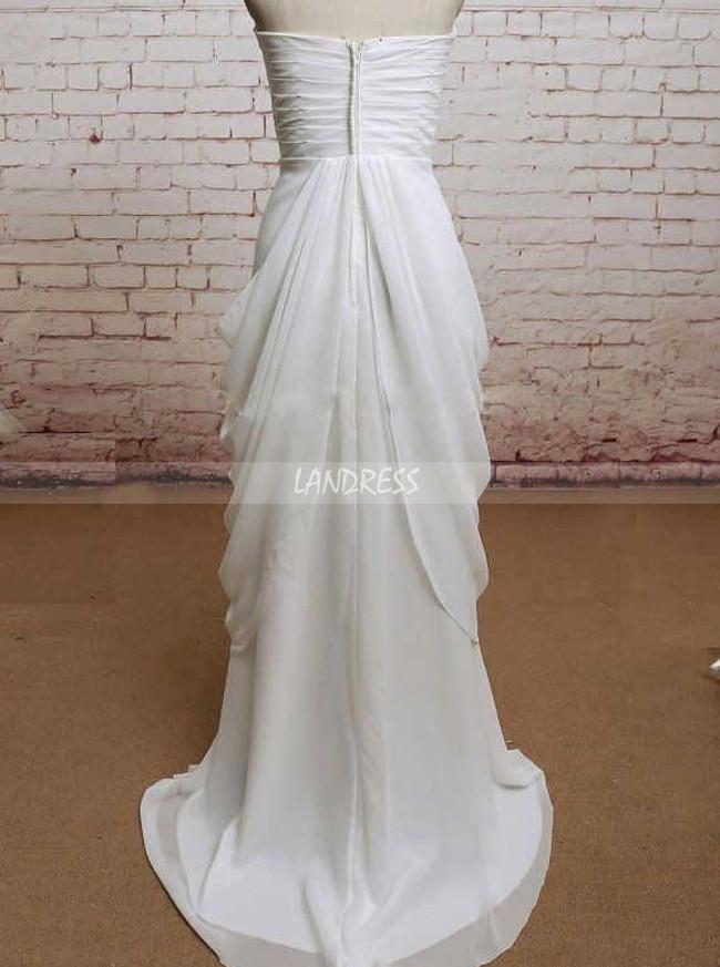 Draped Beach Wedding Dresses,Strapless Wedding Dress,Romantic Wedding Dress,11575