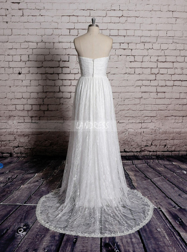 Lace Wedding Dresses,Boho Bridal Dress,Strapless Wedding Dress,11578