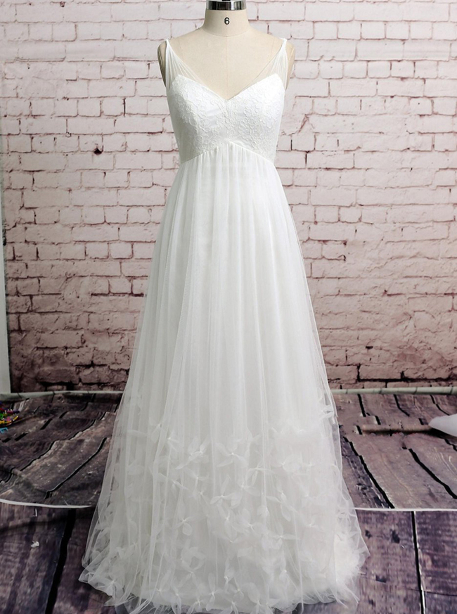 Empire Wedding Dresses,Tulle Wedding Dress,Pregnant Bridal Dress,11579