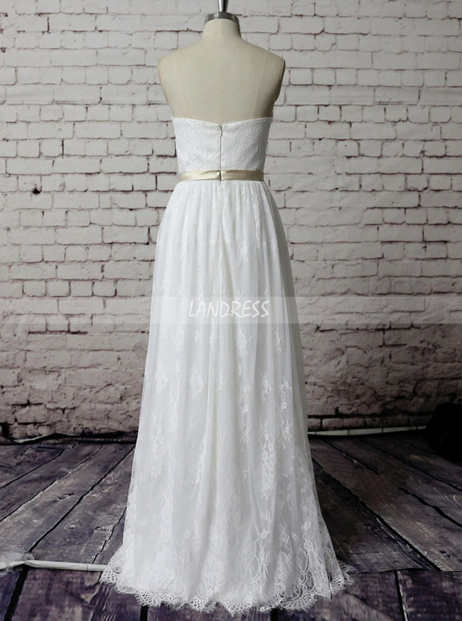 Informal Lace Wedding Dresses,Boho Wedding Dress,Sweetheart Wedding Dress,11581