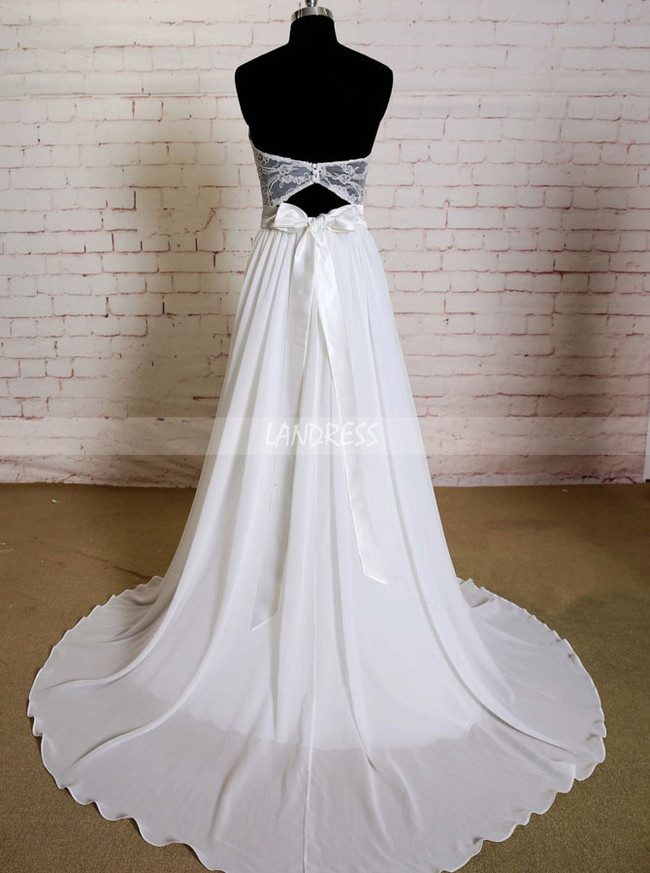Sweetheart Wedding Dresses,Chiffon Wedding Dress with Train,11583
