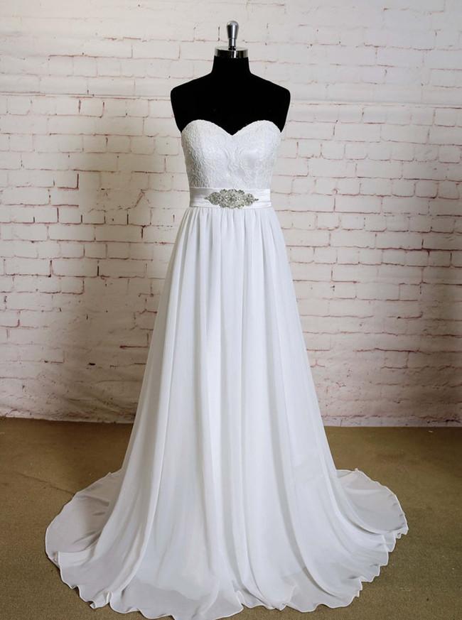 Sweetheart Wedding Dresses,Chiffon Wedding Dress with Train,11583