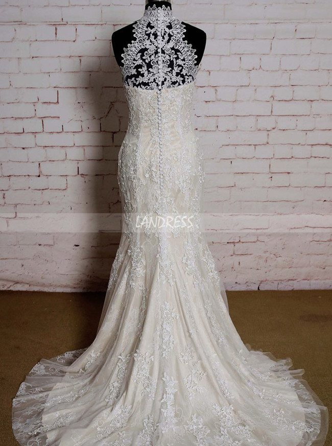 Champagne High Neck Wedding Dresses,Lace Mermaid Wedding Dress,11584