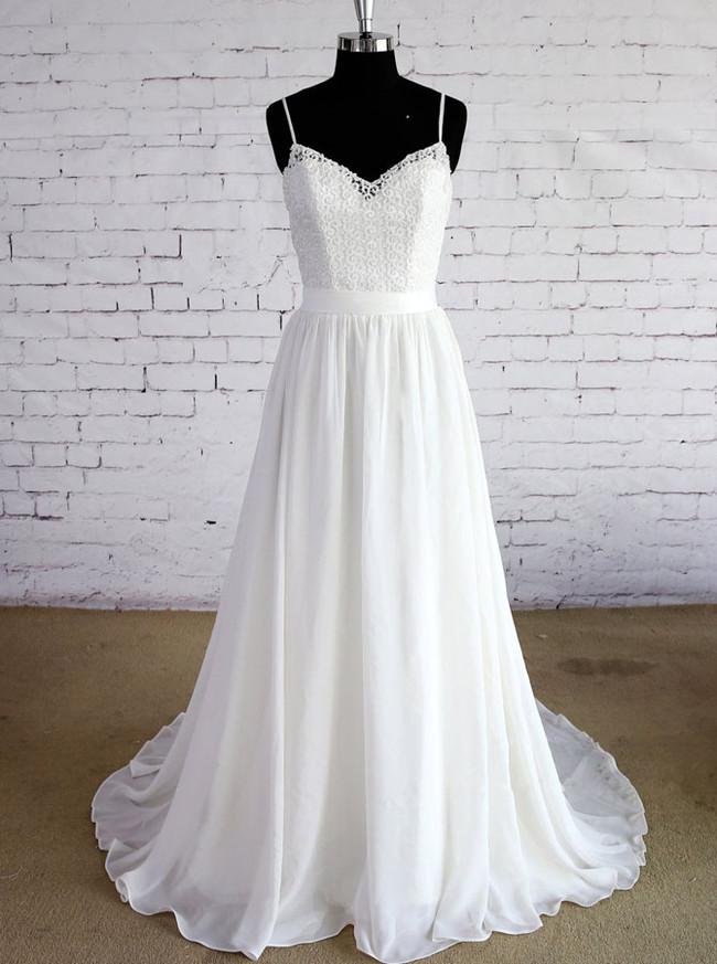 White Wedding Dresses with Straps,Beach Wedding Dress,Boho Bridal Dress,11585