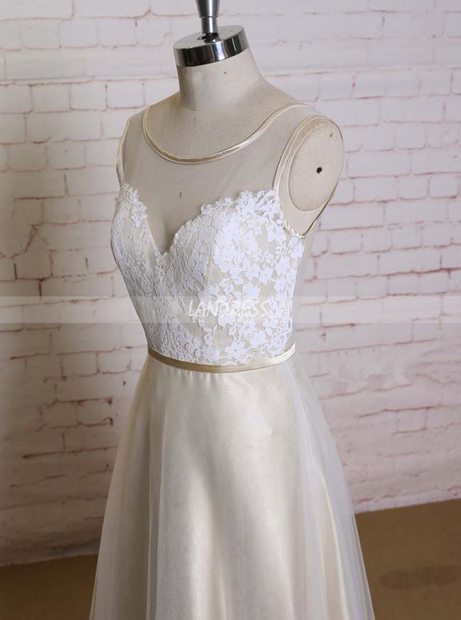 Champagne A-line Wedding Dresses,Floor Length Wedding Dress,11588