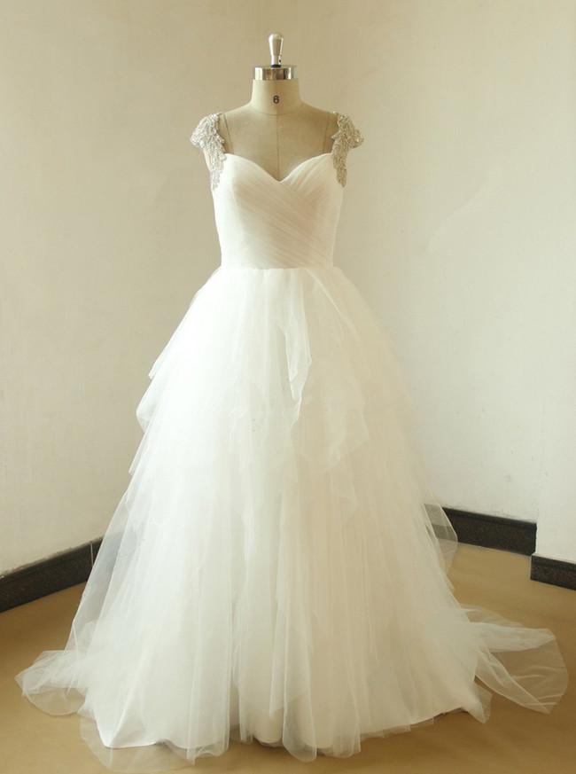 Fairytale Wedding Gown,Open Back Wedding Dresses,Layered Tulle Wedding Dress,11590