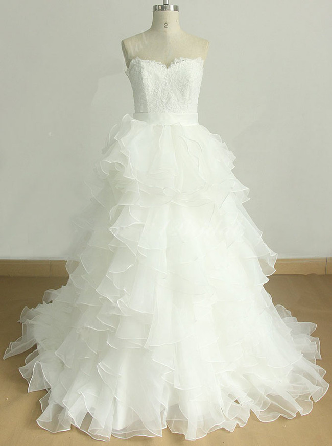 Tiered Organza Wedding Gown,Strapless Ball Gown Wedding Dress,11591
