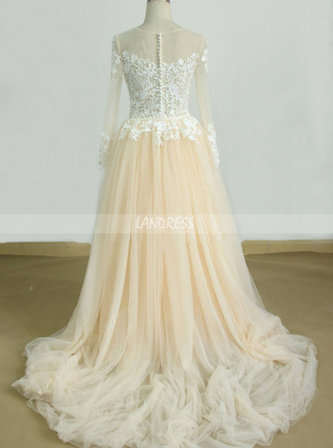 Champagne Wedding Dresses with Sleeves,Tulle Boho Wedding Dress,11592