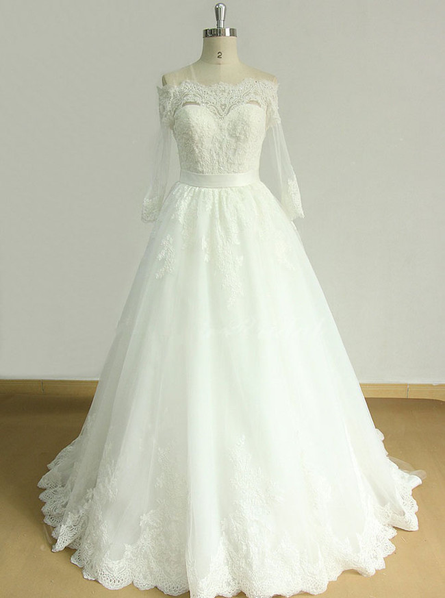 A-line Wedding Dresses with 3/4 Length Sleeves,Off the shoulder Bridal Dress,11594