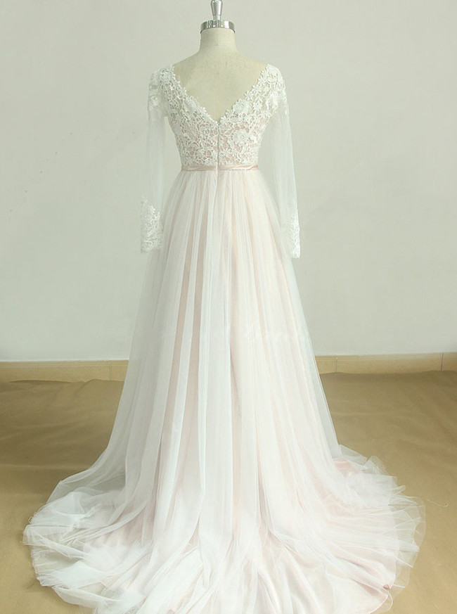 Blush Wedding Dresses,Boho Wedding Dress with Sleeves,11596