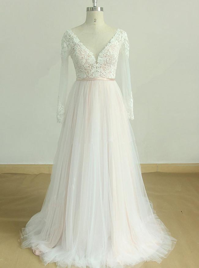 Blush Wedding Dresses,Boho Wedding Dress with Sleeves,11596